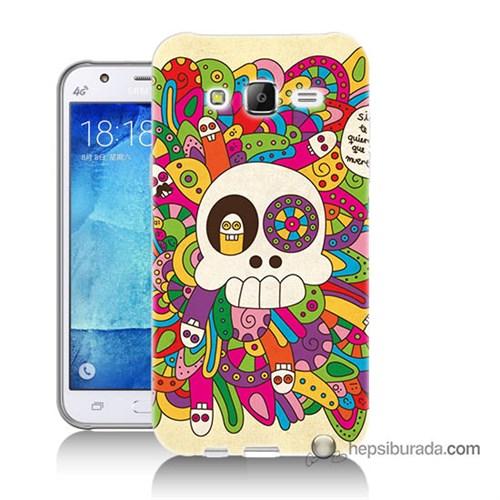 Teknomeg Samsung Galaxy J7 Kapak Kılıf Örgülü Kurukafa Baskılı Silikon