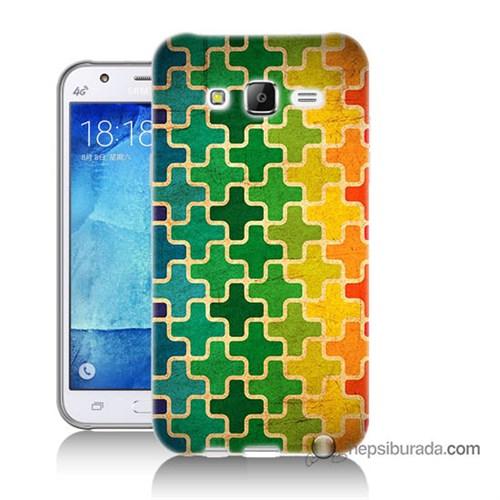 Teknomeg Samsung Galaxy J7 Kapak Kılıf Renkli Artı Baskılı Silikon