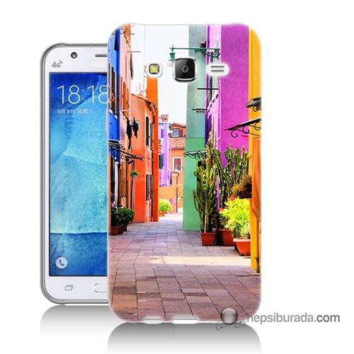 Teknomeg Samsung Galaxy J7 Kılıf Kapak Sokak Baskılı Silikon