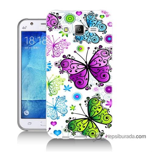 Teknomeg Samsung Galaxy J7 Kapak Kılıf Renkli Kelebekler Baskılı Silikon