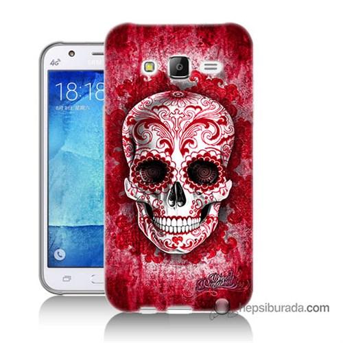 Teknomeg Samsung Galaxy J7 Kılıf Kapak Kırmızı İskelet Baskılı Silikon