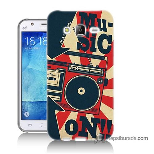 Teknomeg Samsung Galaxy J7 Kapak Kılıf Müzik Baskılı Silikon