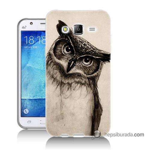 Teknomeg Samsung Galaxy J7 Kılıf Kapak Düşünen Baykuş Baskılı Silikon