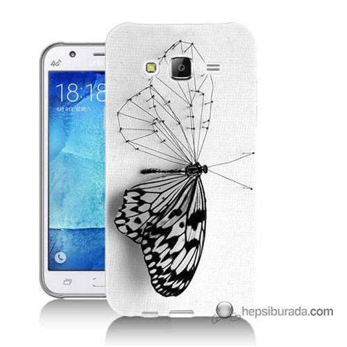 Teknomeg Samsung Galaxy J7 Kapak Kılıf Kanatsız Kelebek Baskılı Silikon