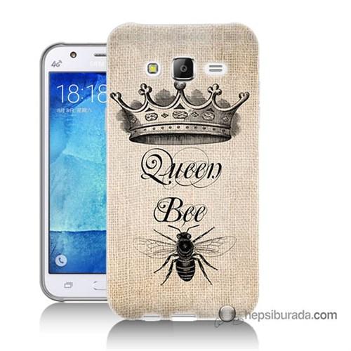 Teknomeg Samsung Galaxy J7 Kılıf Kapak Queen Bee Baskılı Silikon