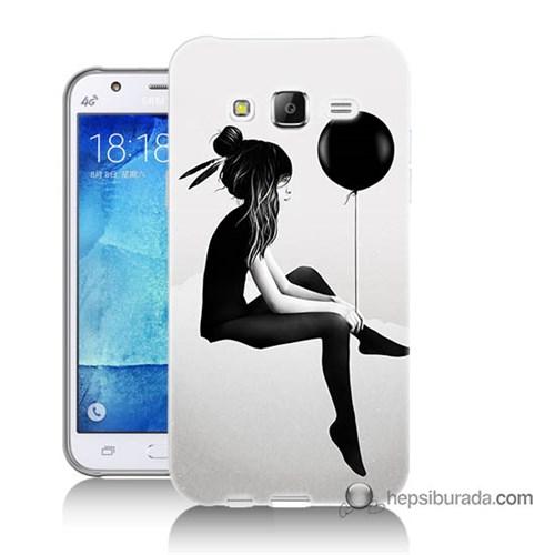 Teknomeg Samsung Galaxy J7 Kapak Kılıf Balonlu Kız Baskılı Silikon