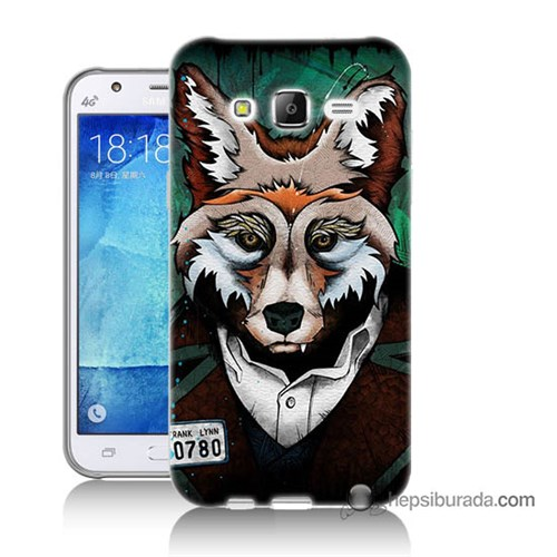 Teknomeg Samsung Galaxy J7 Kılıf Kapak Bad Wolf Baskılı Silikon