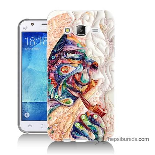Teknomeg Samsung Galaxy J7 Kılıf Kapak Kağıt Sanatı Baskılı Silikon