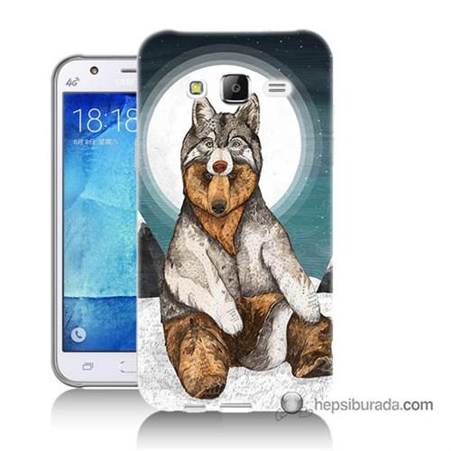 Teknomeg Samsung Galaxy J7 Kapak Kılıf Postlu Ayı Baskılı Silikon
