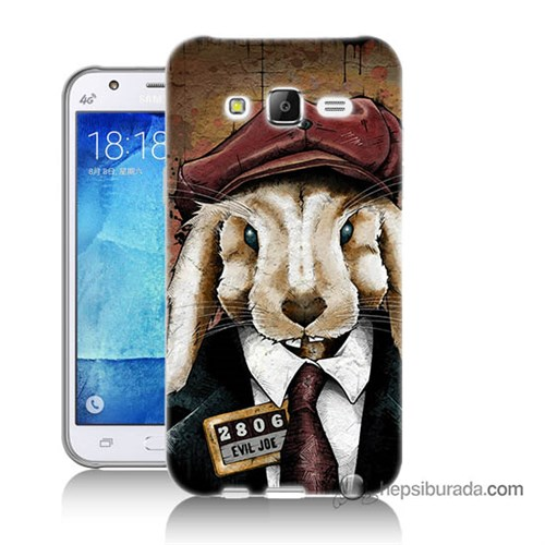 Teknomeg Samsung Galaxy J7 Kapak Kılıf Kötü Tavşan Baskılı Silikon