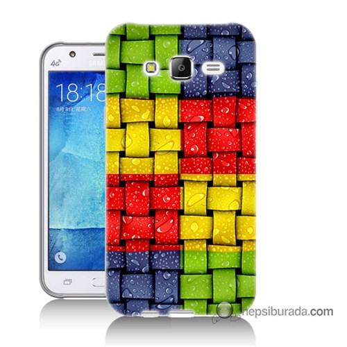 Teknomeg Samsung Galaxy J7 Kılıf Kapak Renkli Sargılar Baskılı Silikon