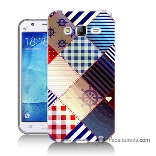 Teknomeg Samsung Galaxy J7 Kapak Kılıf Patchwork Baskılı Silikon