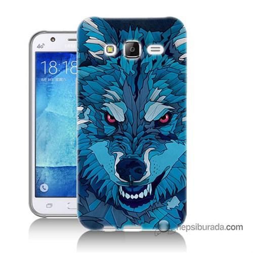 Teknomeg Samsung Galaxy J7 Kılıf Kapak Mavi Kurt Baskılı Silikon