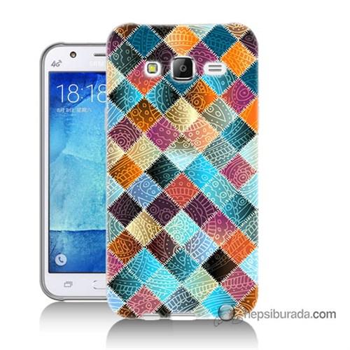 Teknomeg Samsung Galaxy J7 Kılıf Kapak Kırkyama Baskılı Silikon