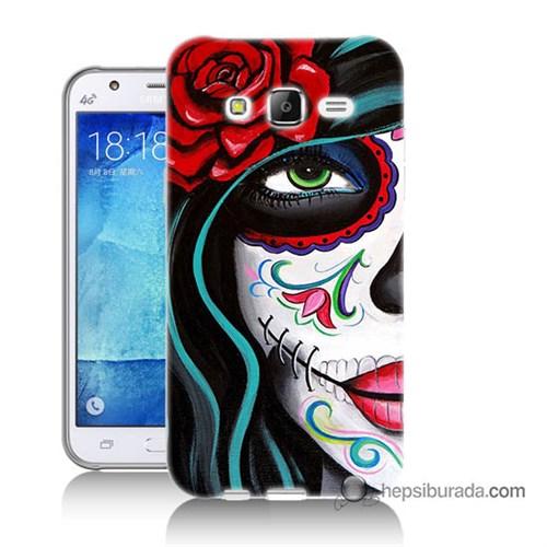 Teknomeg Samsung Galaxy J7 Kılıf Kapak Çiçekli Kız Baskılı Silikon