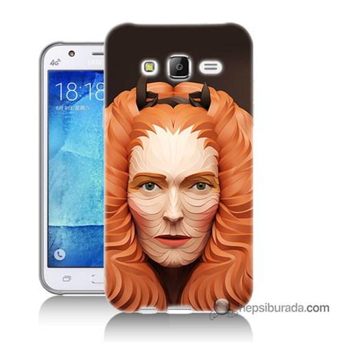 Teknomeg Samsung Galaxy J7 Kapak Kılıf Kabartma Kız Baskılı Silikon