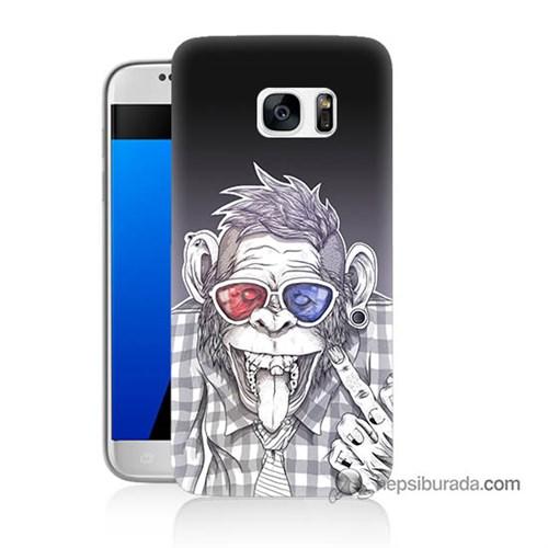 Teknomeg Samsung Galaxy S7 Kapak Kılıf Maymun Baskılı Silikon