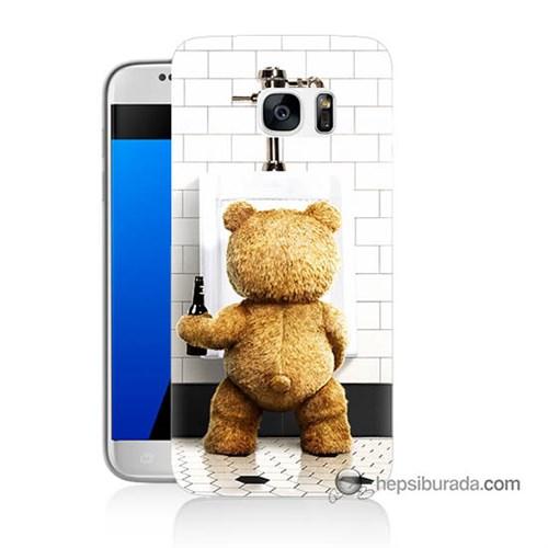 Teknomeg Samsung Galaxy S7 Kılıf Kapak Tedy Bear Baskılı Silikon