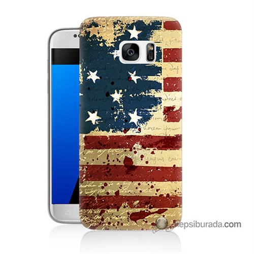Teknomeg Samsung Galaxy S7 Kılıf Kapak Amerika Bayrağı Baskılı Silikon