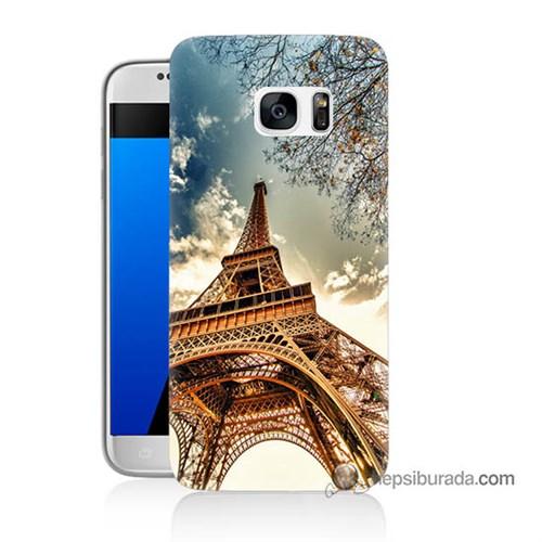 Teknomeg Samsung Galaxy S7 Kapak Kılıf Eyfel Kulesi Baskılı Silikon