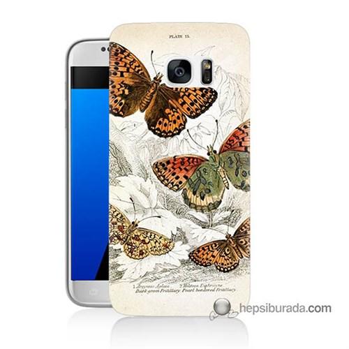 Teknomeg Samsung Galaxy S7 Kapak Kılıf Kelebekler Baskılı Silikon