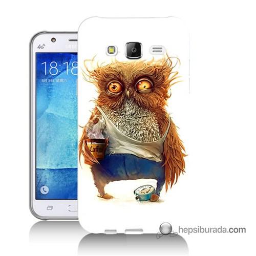 Teknomeg Samsung Galaxy J5 Kapak Kılıf Miskin Baykuş Baskılı Silikon