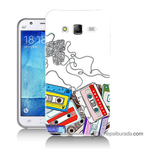 Teknomeg Samsung Galaxy J7 Kapak Kılıf Kasetler Baskılı Silikon