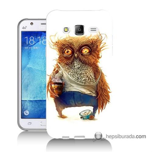 Teknomeg Samsung Galaxy J7 Kapak Kılıf Miskin Baykuş Baskılı Silikon