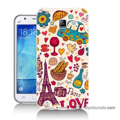 Teknomeg Samsung Galaxy J7 Kapak Kılıf Paris Love Baskılı Silikon