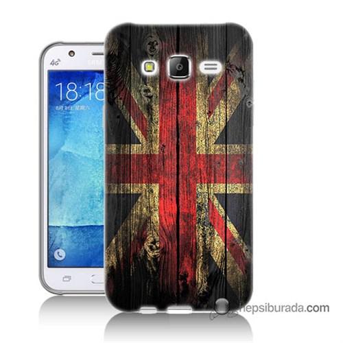 Teknomeg Samsung Galaxy J7 Kapak Kılıf İngiliz Bayrağı Baskılı Silikon