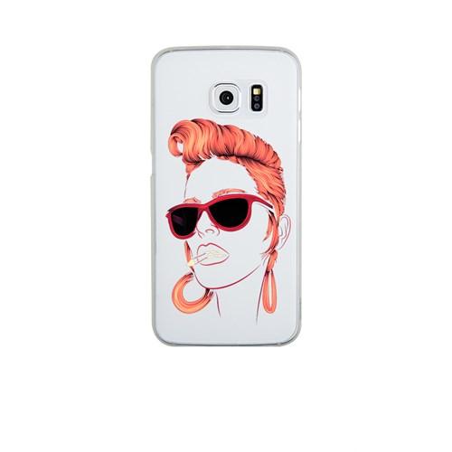 Remeto Samsung S6 Edge Plus Silikon Kızıl Rock'n Roll Kızı