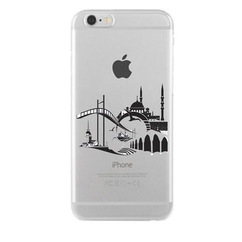 Remeto iPhone 6/6S Plus Şeffaf Transparan Silikon Resimli İstanbul Silüet