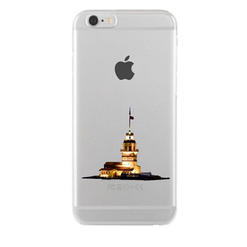 Remeto iPhone 4/4S Şeffaf Transparan Silikon Resimli Kız Kulesi Renkli