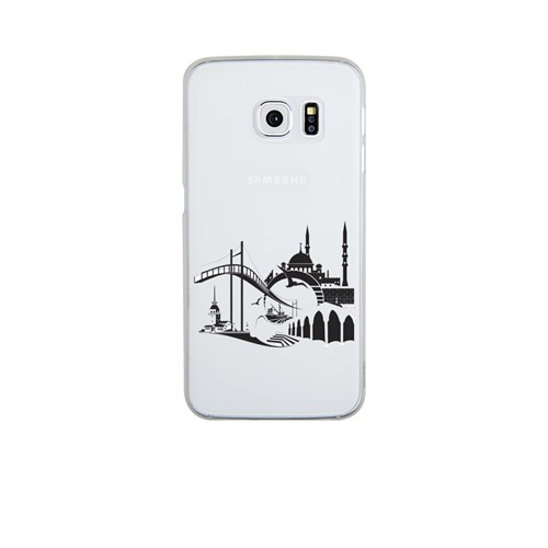 Remeto Samsung Galaxy S6 Edge Şeffaf Transparan Silikon Resimli İstanbul Silüet
