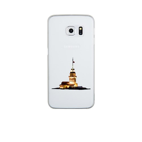 Remeto Samsung Galaxy S6 Edge Şeffaf Transparan Silikon Resimli Kız Kulesi Renkli