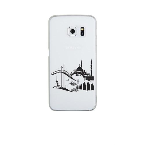 Remeto Samsung Galaxy S6 Edge Plus Şeffaf Transparan Silikon Resimli İstanbul Silüet