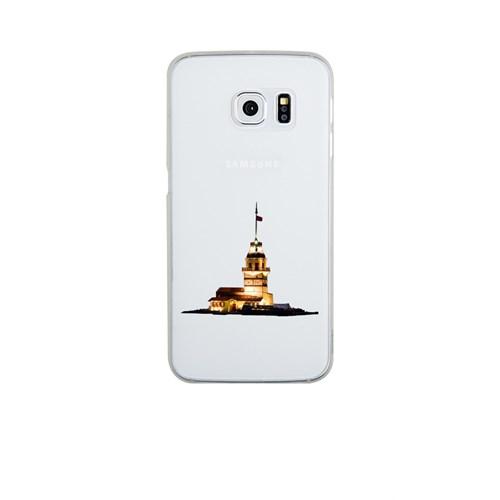 Remeto Samsung Galaxy S6 Edge Plus Şeffaf Transparan Silikon Resimli Kız Kulesi Renkli