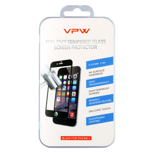 VPW Apple iPhone 6 4.7 inch Fullfıt Siyah Tempered Glass Kırılmaz Cam Ekran Koruyucu