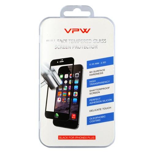 VPW iPhone 6 Plus Fullfıt Siyah Tempered Glass Kırılmaz Cam Ekran Koruyucu
