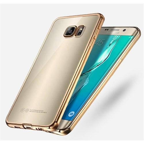 Ebox Samsung Galaxy S7 Edge Kenarları Altın Varaklı Şeffaf İnce Silikon Arka Kapak - EBX-2663