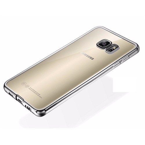 Ebox Samsung Galaxy S7 Edge Kenarları Gümüş Varaklı Şeffaf İnce Silikon Arka Kapak - EBX-2670