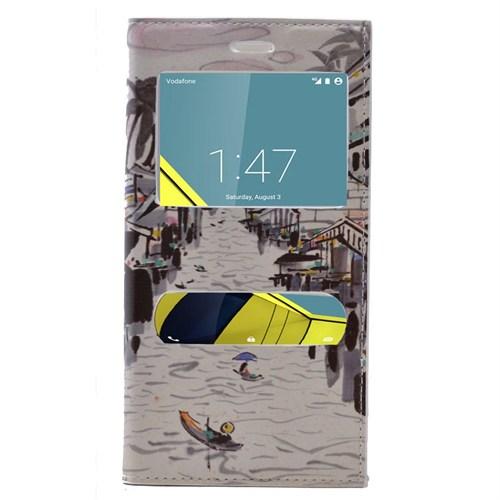 Teleplus Vodafone Smart 6 Desenli Çift Pencereli Kılıf Çizim Desen