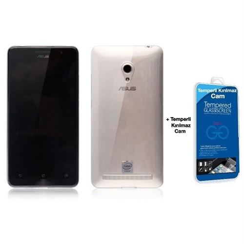 Teleplus Asus Zenfone 6 Silikon Kılıf Şeffaf + Kırılmaz Cam