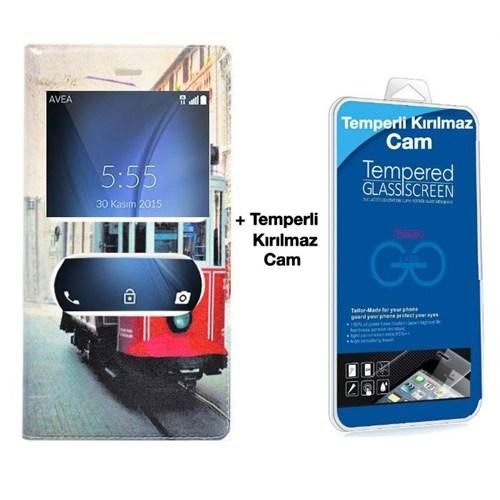 Teleplus Turk Telekom Tt175 Pencereli Desenli Kılıf Taksim + Kırılmaz Cam