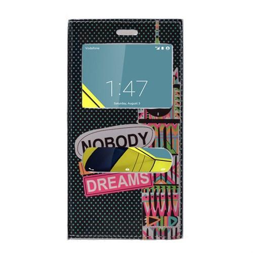 Teleplus Vodafone Smart 6 Desenli Çift Pencereli Kılıf Dreams