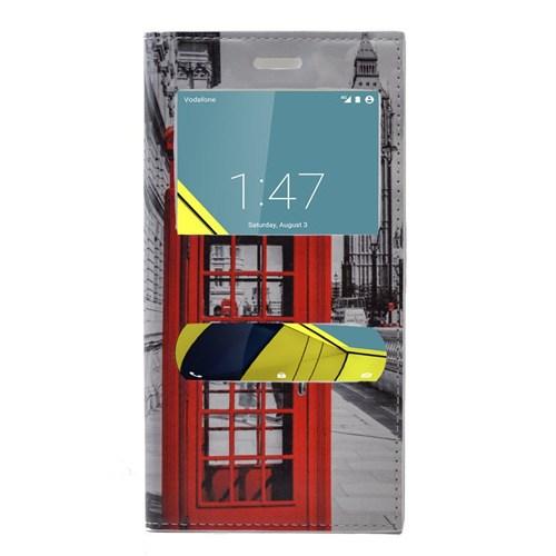 Teleplus Vodafone Smart 6 Desenli Çift Pencereli Kılıf Telefon
