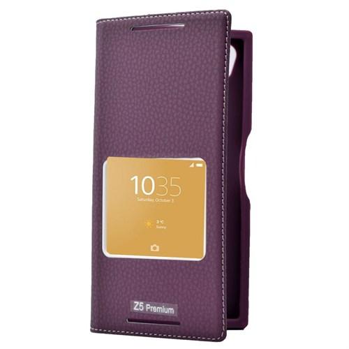Teleplus Sony Xperia Z5 Preminum Mıknatıslı Pencereli Kılıf Mor