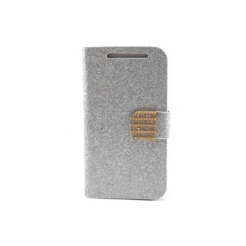 Teleplus Htc One Simli Cüzdanlı Taşlı Kılıf Gümüş Renk