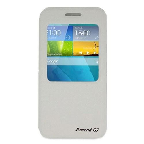 Teleplus Huawei Ascend G7 Pencereli Lüx Kılıf Beyaz