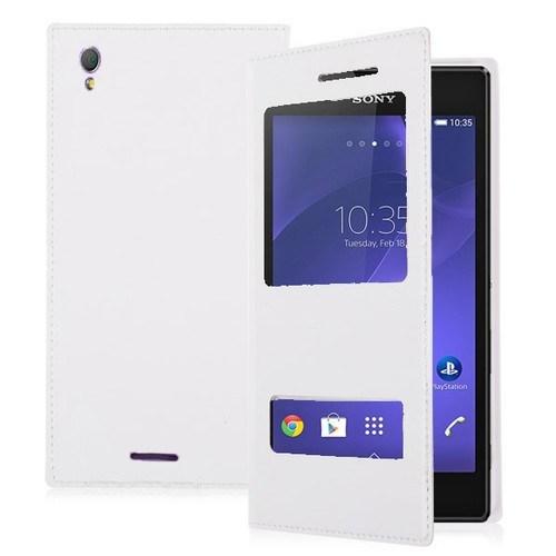 Teleplus Sony Xperia T3 Çift Pencereli Kılıf Beyaz